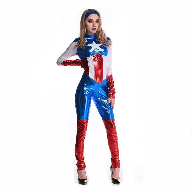 Superhelden Dames Kostuums.Us 30 0 Captain America Kostuum Superheld Cosplay Vrouwen Skinny Pak Dames Captain Amerika Rollenspel Film Halloween Party Kostuums In Film Tv