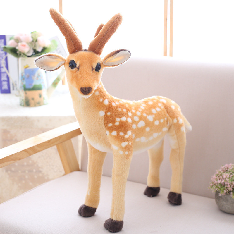 1pc 50cm Cute Simulation Sika Deer Plush Toy Staffed Animal Doll for Kids Baby Kawaii Birthday & Christmas Gift for Children
