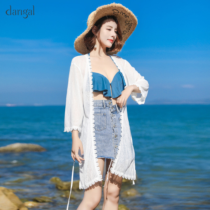 New Fashion Women Lace Sun-protective Blouses Casual Summer Long Thin Beach Cardigan Shawls Half Sleeve Shirts Solid Boho Tops