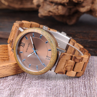 Relojes de madera para hombre combinación metal con caja 2
