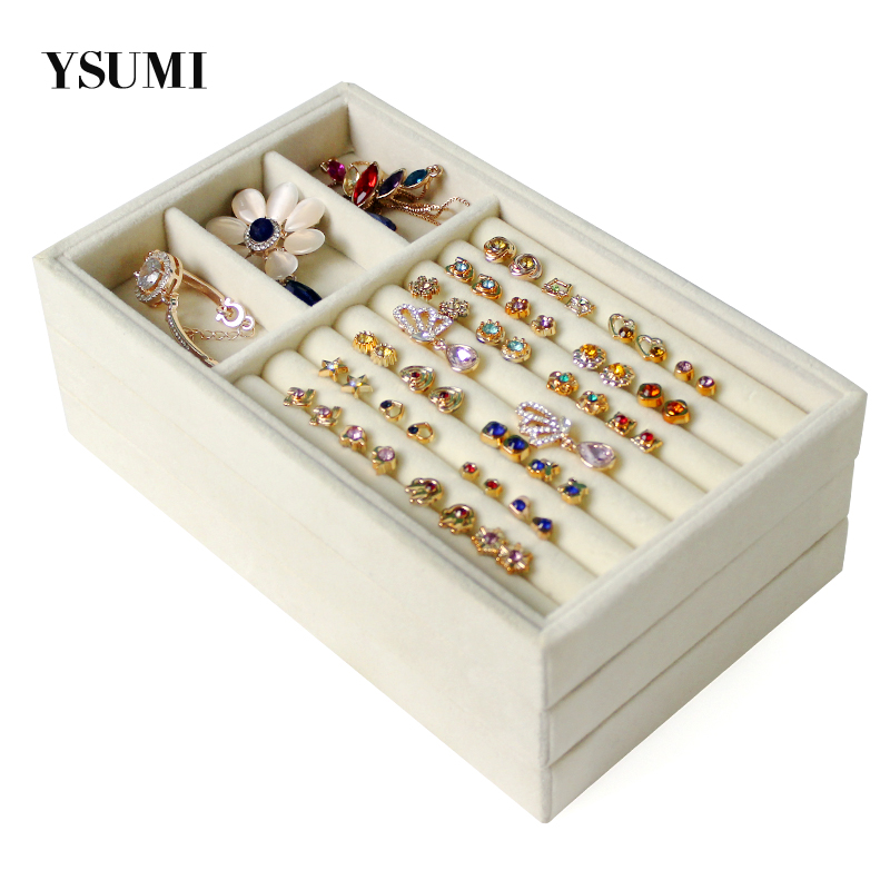 YSUMI Cream-Colored Jewelry Display Box Jewelry Organizer Storage   Tray Earring Bracelet Necklace Ring Jewelry Display Stands
