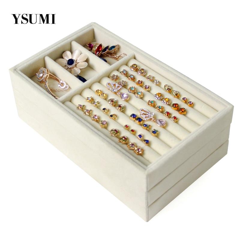 YSUMI Cream-Colored Jewelry Display Box Jewelry Organizer Storage   Tray Earring Bracelet Necklace Ring Jewelry Display Stands