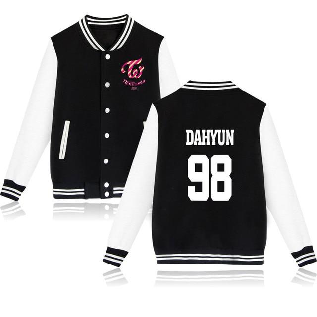 2018 bts Kpop Twice Baseball Jackets bomber jacket men women casaco masculino MINA DAHYUN CHAE YOUNG Women Plus Size Streetwear