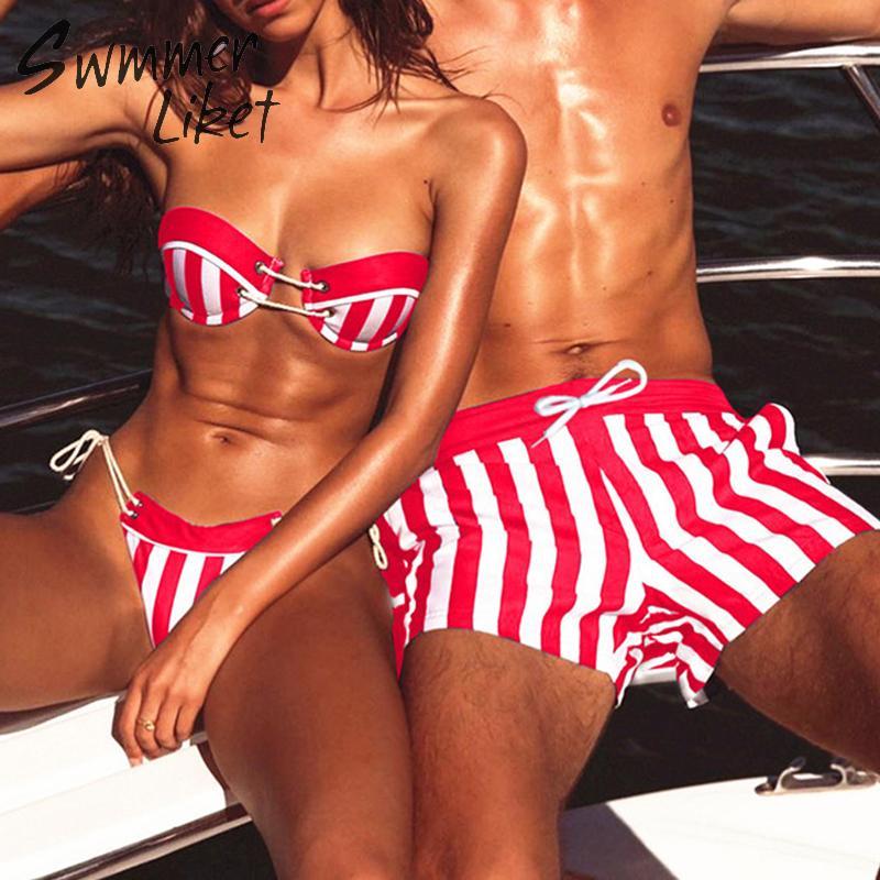 Sexy Thong Bikini Set Halter Swimwear Women High Cut Bathing Suit 2019 Striped Swimsuit Female Summer Bathers Bondage Biquini