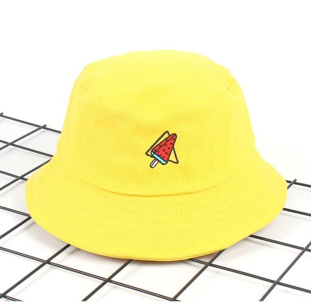58dad44cc92 New Korea Watermelon Bucket Hat for men women Embroidery unisex fashion fishing  hat Bob Cap panama