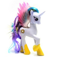 Free Shipping 14cm Black Horse PVC Toys Kawaii Cute Unicorn Poni Anime Figure Collection Toy Birthday