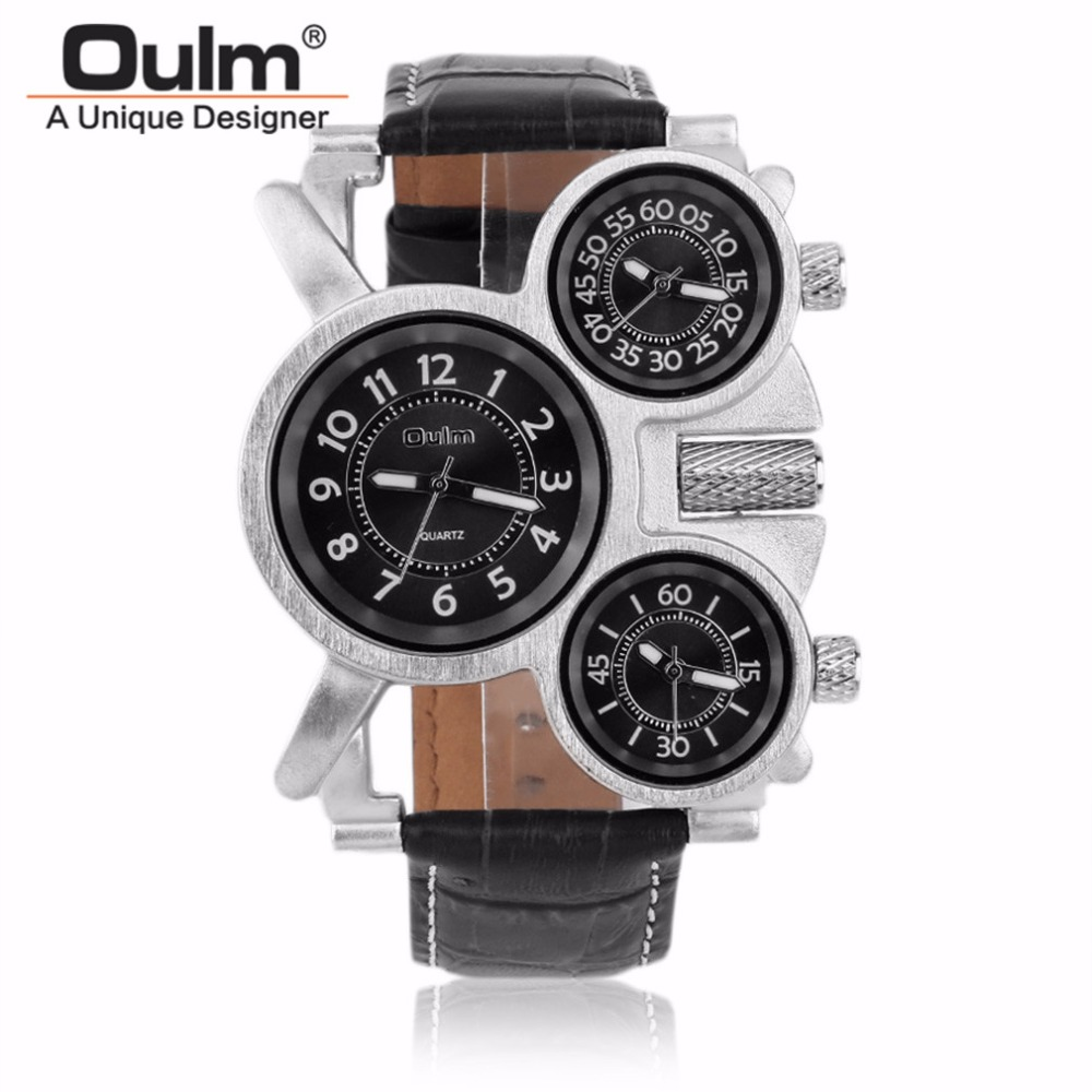 OULM Watch Men Top Brand Military Quartz Watches Unique 3 Small Dials Leather Strap Male Outdoor Wristwatch Relojes Hombre oulm multi function 3 movt quartz leather wristwatch men military sports watch