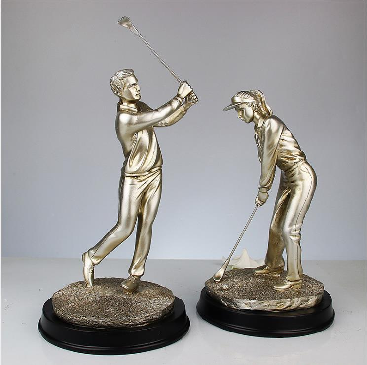 Modern creative European character resin statue golf couple sculpture athlete figurine home decor craft gift wholesale