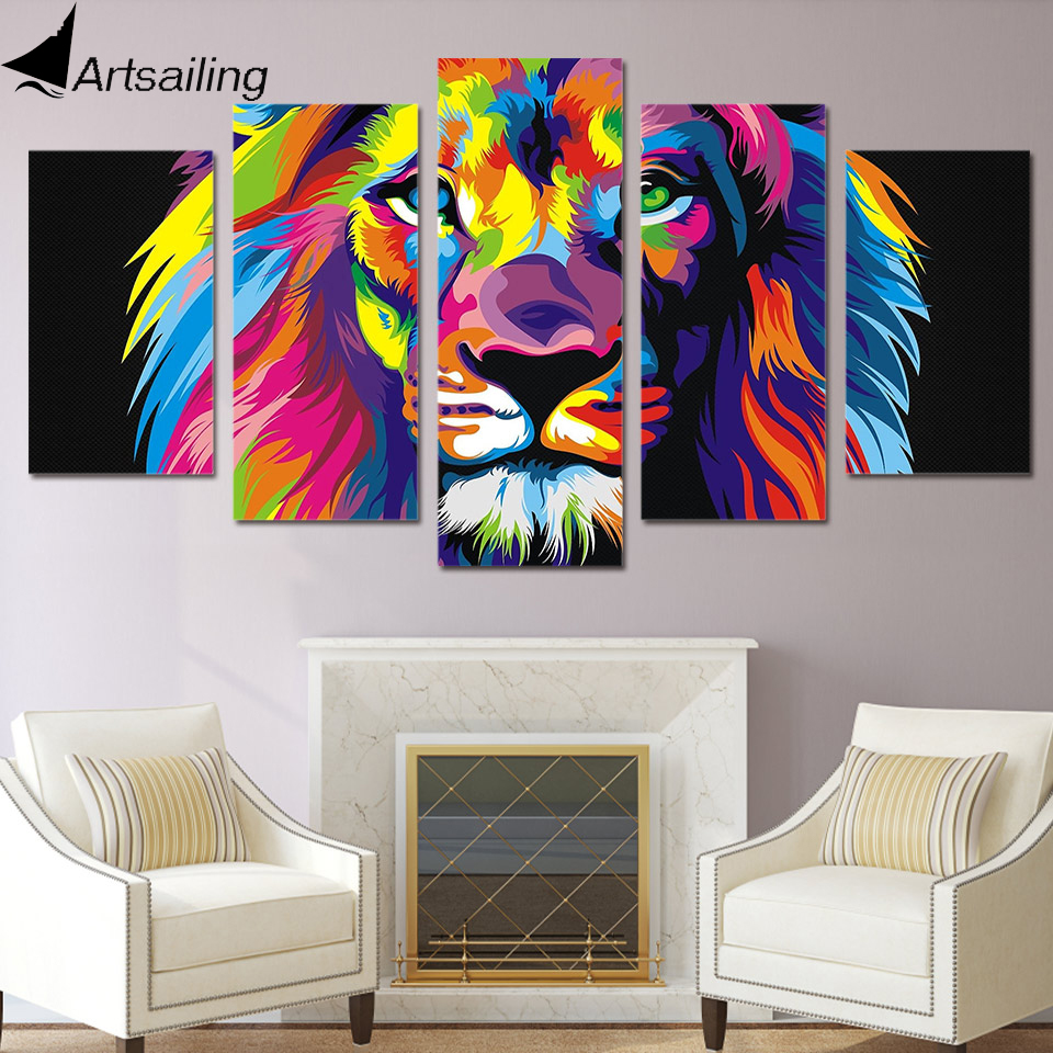 Colorful Wall Decor: Aliexpress.com : Buy Lion Painting 5 Piece Canvas Art HD