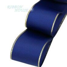 (10 ярдов/партия) Золотой Край Темный синяя корсажная лента оптовая продажа подарочная упаковка рождественские ленты