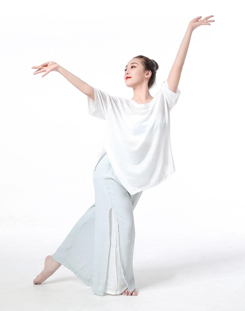 Latin Dance Loose Large Shirts Sexy Split Knitting Lady Ballroom Tango Tops Cha Salsa Rumba Modern Dance Wear Yoga Costumes Tee
