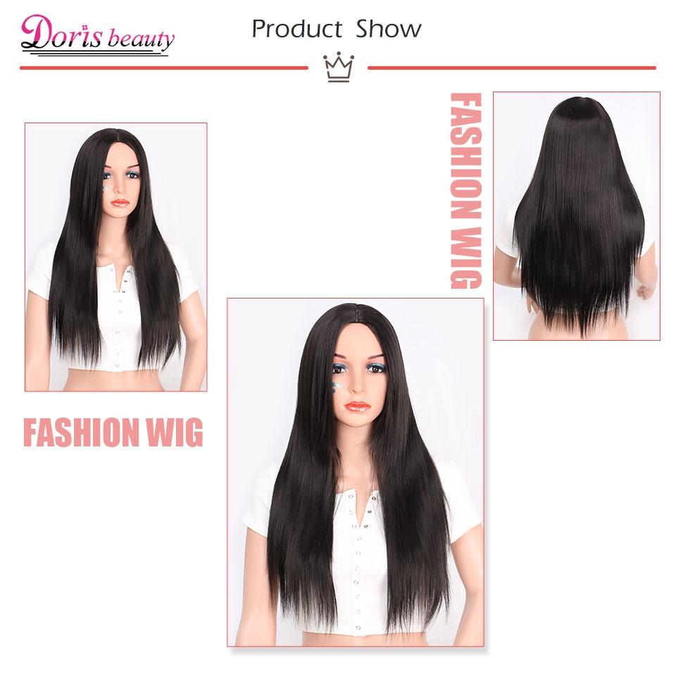 Doris beauty Synthetic Long Black Wig Long Straight Wig Blonde Ombre Wig Brown Gray Black Color Wig Heat Resistant Fiber