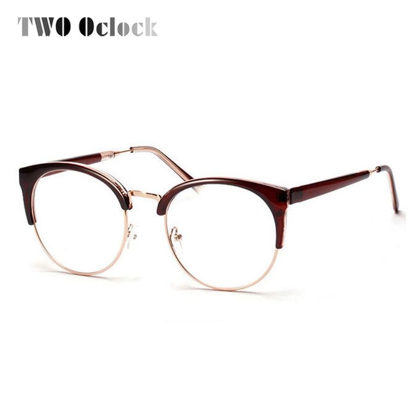ჱUnisex medio marco gafas con lentes transparentes, Ronda marco ...