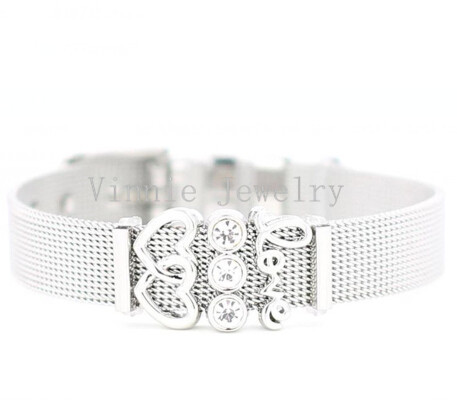 Vinnie Design Jewelry Women Stainless Steel Mesh Keeper Bracelet with Love Heart Slide Charms Bracelets for Mothers Day Gifts