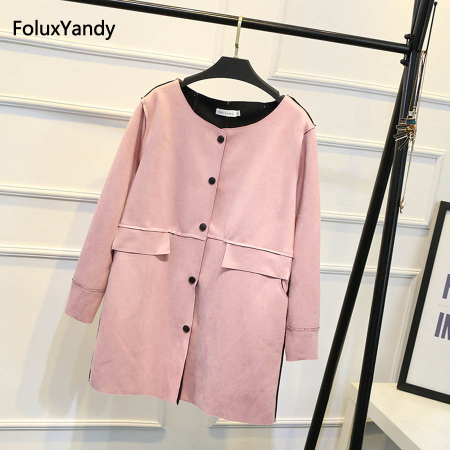 Suede   Trench   Coat for Women Plus Size 3 XL Casual Single Breasted Autumn   Trench   Outerwear SWM752