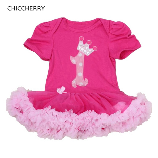 Pink Crown Princess Baby Girl Clothes Toddler Lace Romper Dress 1 Year Birthday Dress Outfits Vestido De Bebe Infant-clothing