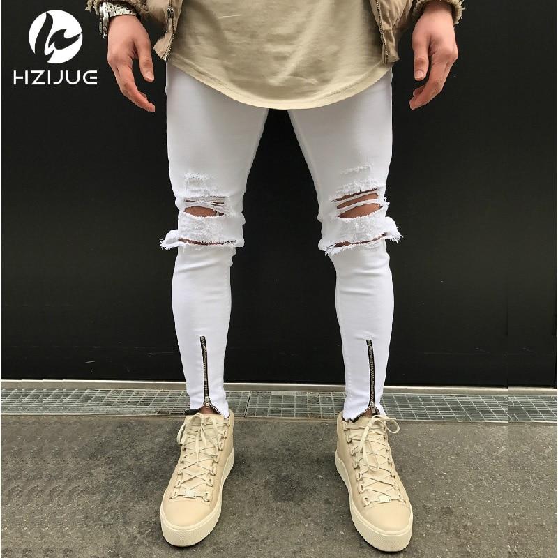 New Mens Ripped Jeans Cotton Black white Slim Fit Motorcycle Jeans Men Vintage Distressed Denim Jeans hiphop streetwear pants