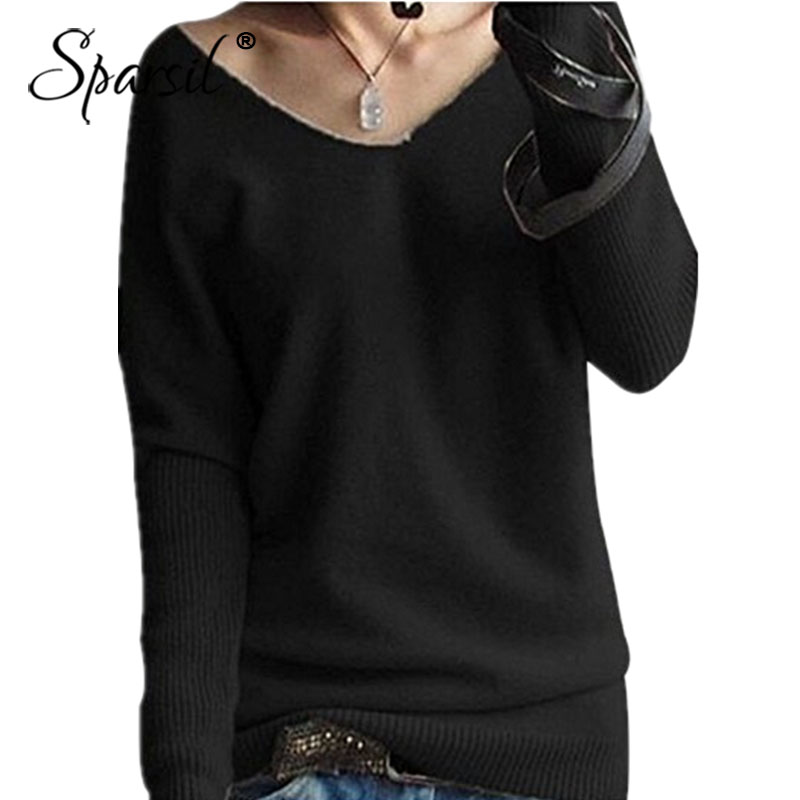 Sparsil Women <font><b>2018</b></font> Autumn Sweaters V Neck <font><b>Sexy</b></font> Batwing Sleeve Wool Cashmere Sweater Winter <font><b>Tops</b></font> Knitwear Plus Pullover image