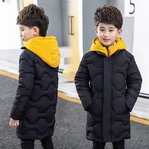 Image 2 - Boys cotton coat 2019 new childrens mens winter down jacket cotton child big child fake two cotton jacket thick coat