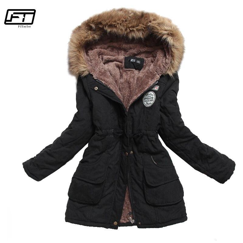 Fitaylor chaqueta de invierno de las mujeres con capucha gruesa Parka Mujer de algodón acolchado abrigo largo párrafo Plus tamaño 3xl Chaqueta Slim Mujer