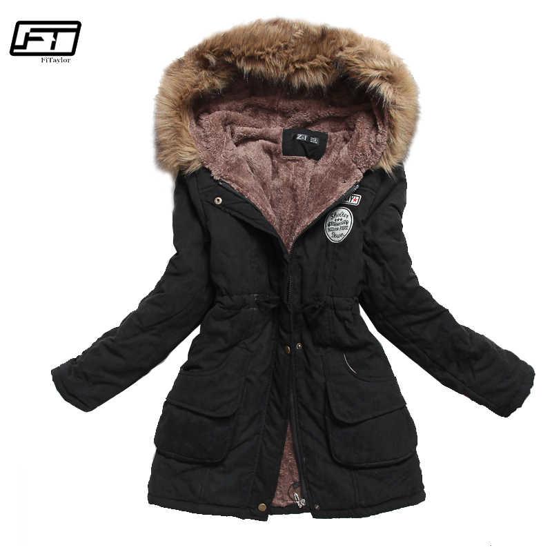 Kurtka zimowa Fitaylor kobiety gruba ciepła kurtka z kapturem Mujer bawełniany płaszcz z podszewką długi akapit Plus rozmiar 3xl wąska kurtka kobieta