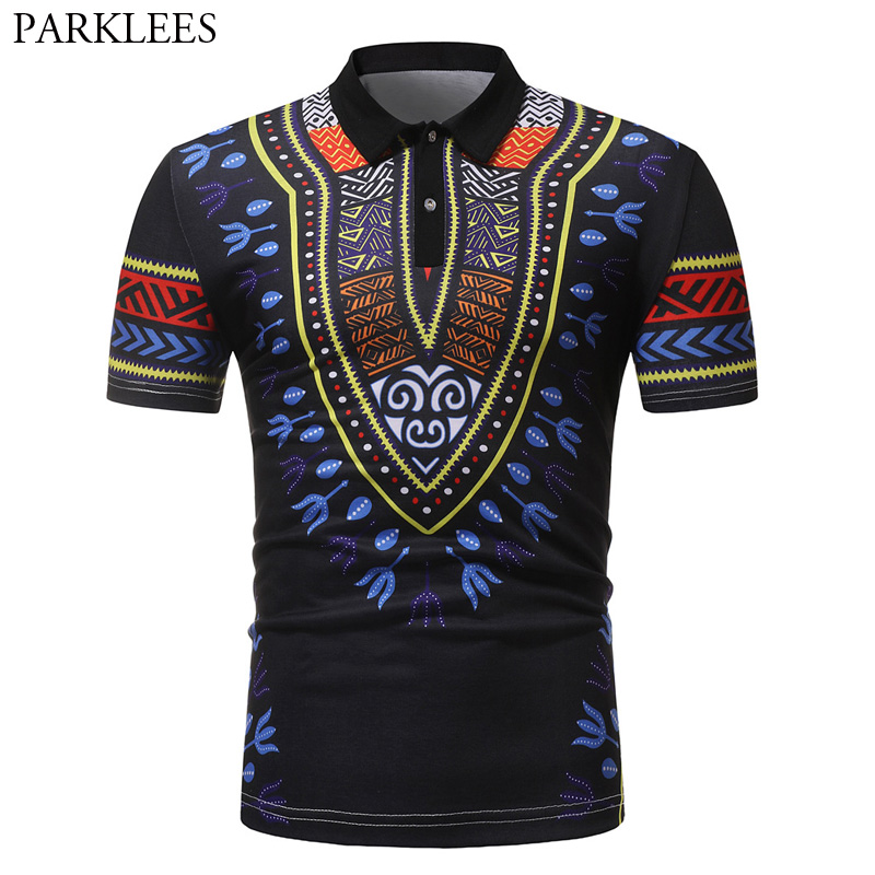 Summer Short Sleeve Polo Shirt Men 2018 Fashion African Dashiki Print Polo Homme Casual Breathable Brand Polos Shirts Male XXL