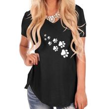 New Fashion Dog Paw Print T-Shirt for Women