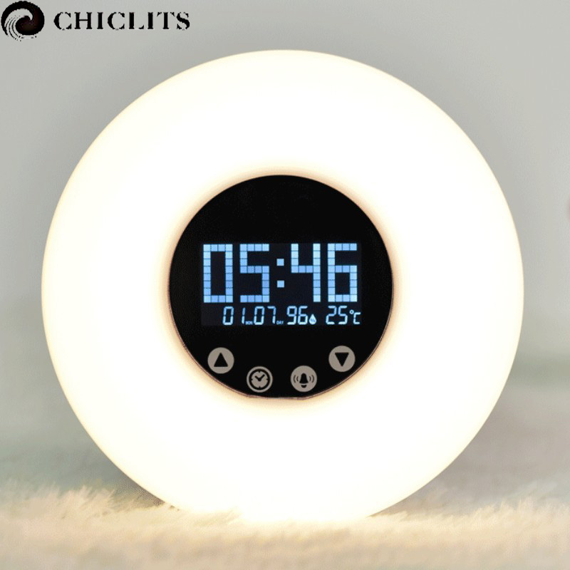 Wake-Up Led Light with Sunrise Simulation Digital Led Display Alarm Clock Night Light Temperature RGB Color Led Smart Clock Lamp wake up night light alarm clock sunrise simulation dusk fading night light with nature sounds fm radio touch control usb charger