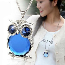 купить Women Sweater Chain Necklace Owl Design Rhinestones Crystal Pendant Necklaces Jewelry Clothing Accessories Drop Shipping по цене 124.07 рублей