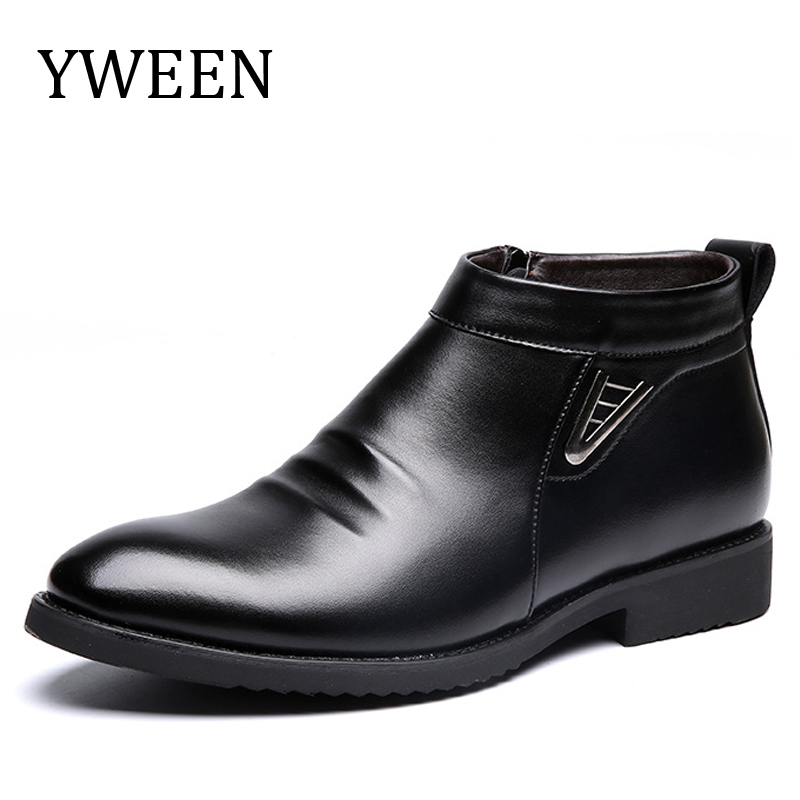 YWEEN Nouveau Hommes de Cheville Bottes D'hiver En Peluche Hommes Coton Chaussures Confortable Bottes de Neige En Cuir Pour Hommes
