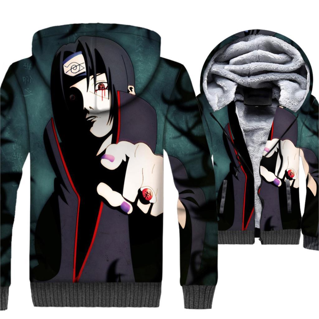 Naruto Jacket 3D Hoodie Men Harajuku Sharingan Sweatshirt 2018 New Winter Thick Fleece Warm Zipper Coat Japan Anime Sportswear in Hoodies amp Sweatshirts from Men 39 s Clothing