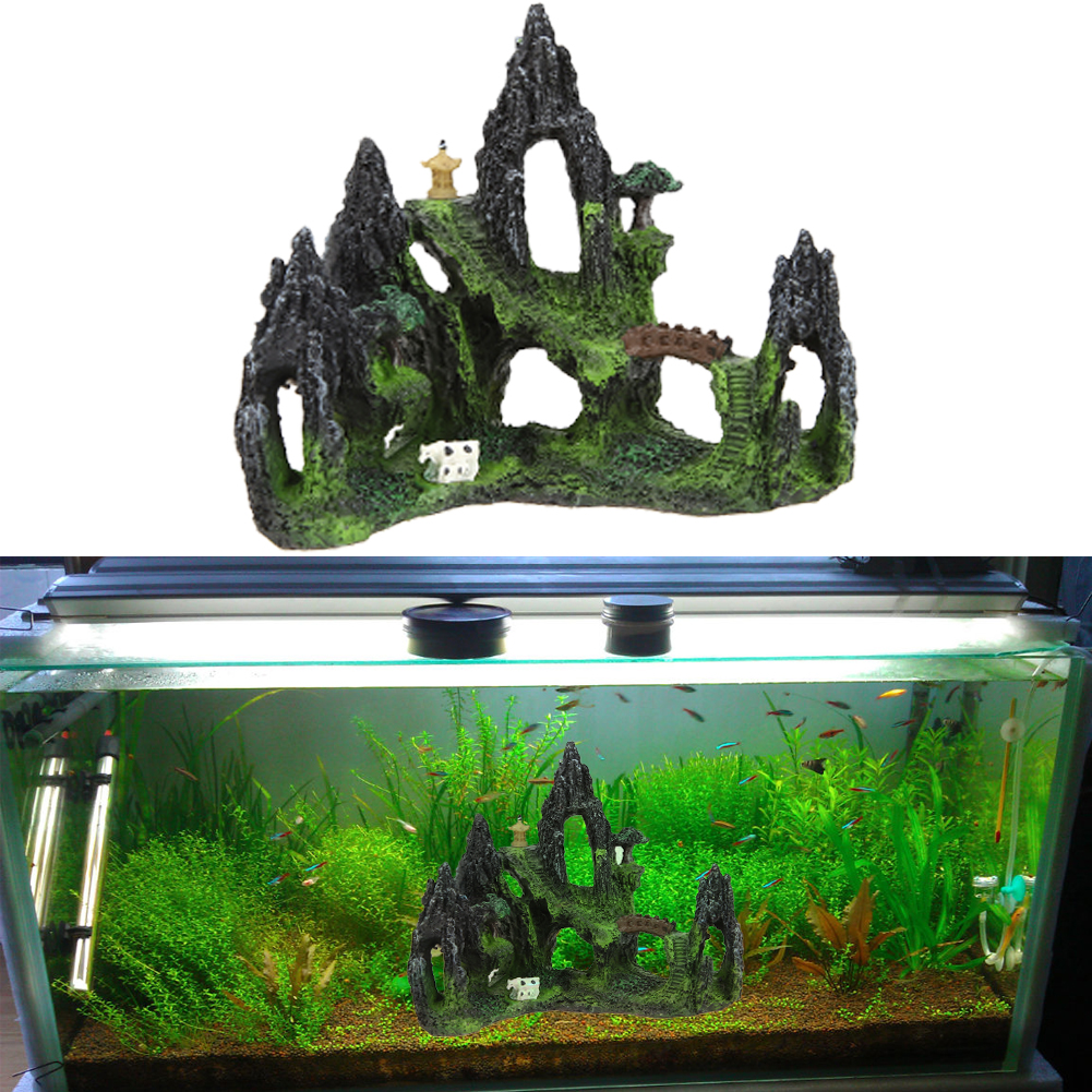 Fish tank supplies - Restin Artificial Mountain View Aquarium Tree House Cave Bridge Fish Tank Ornament Fish Pet Supplies Aquarium