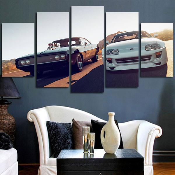HD Printed 5 Piece Canvas Art Fast & Furious Racing Cars Wall Art ...