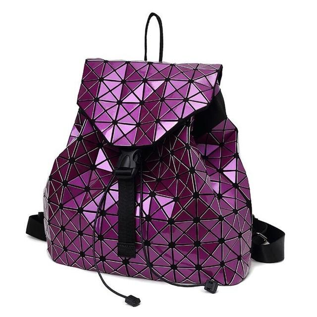 Mulheres mochila 2017 geométrica patchwork diamante malha mochila cordão mochila saco um dos famosa marca 7 Cores DF411