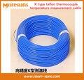 Envío Gratis 50 M/lote K tipo cuatro fluorineTHERMO tipo K termopar de medición de temperatura de teflón cable de PAR DE CABLES 2*0.3mm