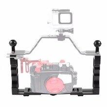 مقبض سبائك الألومنيوم صينية استقرار تلاعب ل كاميرا تحت الماء الإسكان علبة الغوص صينية جبل ل GoPro DSLR Camere الهاتف الذكي