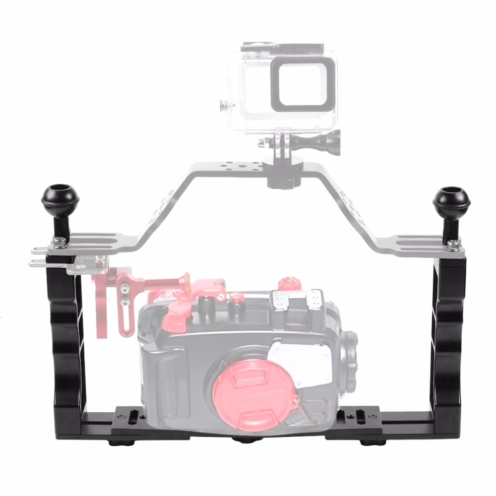 Handle Aluminium Alloy Tray Stabilizer Rig for Underwater Camera Housing Case Diving Tray Mount for GoPro DSLR Camere SmartphoneHandle Aluminium Alloy Tray Stabilizer Rig for Underwater Camera Housing Case Diving Tray Mount for GoPro DSLR Camere Smartphone