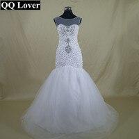QQ Lover 2017 The Latest African Full Luxury Beaded Mermaid Wedding Dress Custom-made Plus Size Vestido De Noiva
