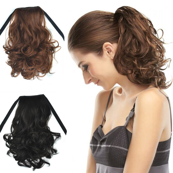 40cm short ponytails hair extensions afro kinky wavy curly women