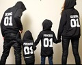BKLD 2017 Autumn Winter Couple Hoodies KING Queen Princess Prince Print funny Sweatshirts Lover Pullover for Man and Women Child