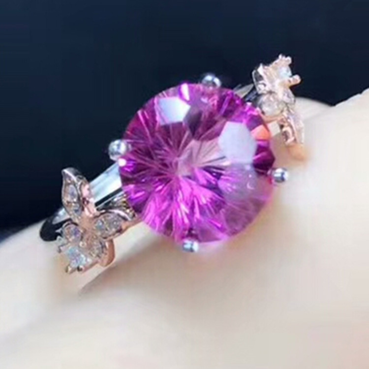 Colorful crystal ring live mouth s925 silver inlaid heart-shaped rose red natural topaz ring black heart shaped rose pattern retro bracelet