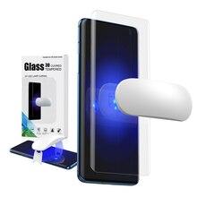 Protetor de tela vidro temperado para oneplus 7 pro com impressão digital desbloqueio uv filme vidro capa completa para oneplus 7 t pro