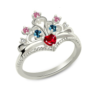 AILIN Multi stone Princess Crown Ring Sterling Silver Fairytale Princess Tiara Ring for Her