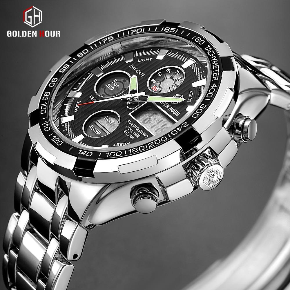 GOLDENHOUR Men Fashion Sport Quartz Watch Mens Military Waterproof Auto Date Wristwatches Luminous Hands Stainless Steel Relogio