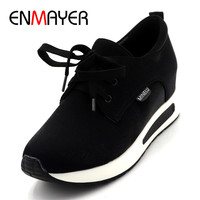 ENMAYER Woman Solid Flats Platform Shoes New Fashion Lady Flats The Increase In Wedge Casual Lace