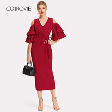 COLROVIE V Neck Ruffle Belted Open Shoulder Sexy Party dresses Elegant 2018 Autumn Evening Women Dresses