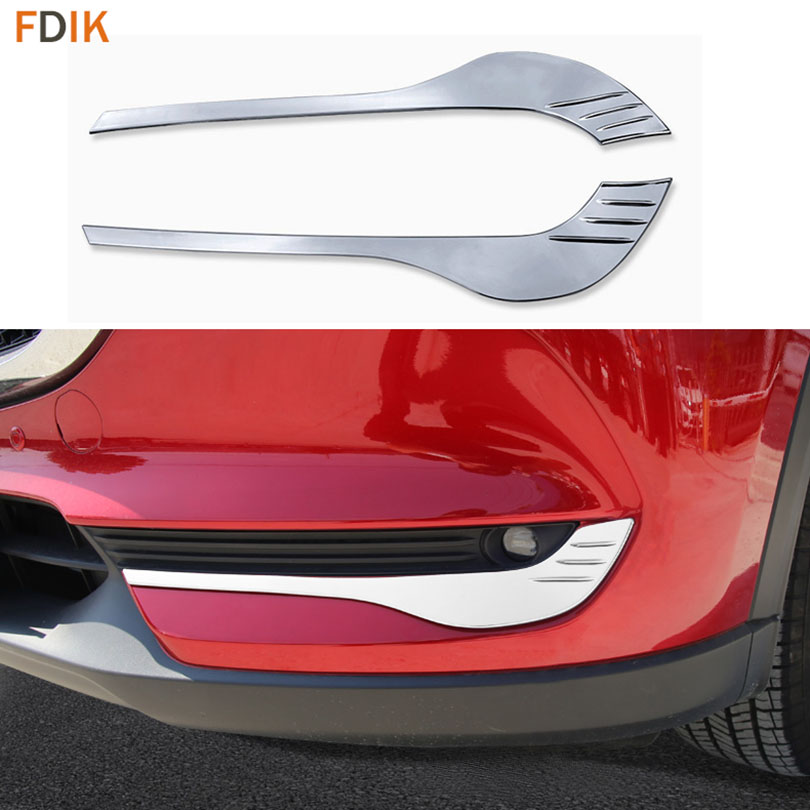 Chromed Front <font><b>Fog</b></font> <font><b>Light</b></font> Lamp <font><b>Cover</b></font> Moulding Trim Eyelid Garnish Bezel for <font><b>Mazda</b></font> 2017 2018 New CX-5 <font><b>CX5</b></font> image