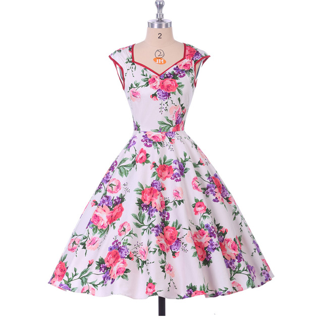 Floral Print Women Dress 2017 Summer Casual plus size Pinup clothing vestidos robe Retro 50s Vintage Swing Rockabilly Dresses