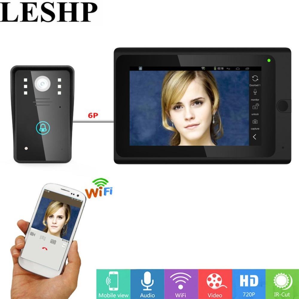 LESHP Wired Video Door Phone Doorbell Intercom Entry System With 1000 TVL Camera 7 inche Support Recording Snapshot Night VisionLESHP Wired Video Door Phone Doorbell Intercom Entry System With 1000 TVL Camera 7 inche Support Recording Snapshot Night Vision