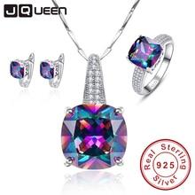 Místico Del Arco Iris 100% 925 Sello de Plata de ley Pendientes Del Collar Del anillo Del Aniversario de Boda Regalos de La Joyería para Las Mujeres/mujer